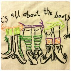 Its all about the boots! Halloween embroidary. Tea towl. Embroidary floss. Witches.
