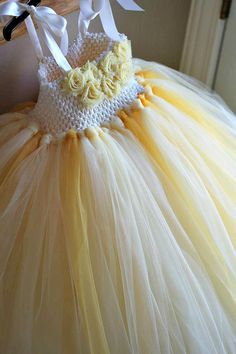 Ivory and Yellow Flower Girl Tutu Dress 618 by TutullyCuteDesigns, $60.00