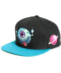 Keep things interesting with this black snapback hat that features an  eyeball patch at the front c3f91558d5c0