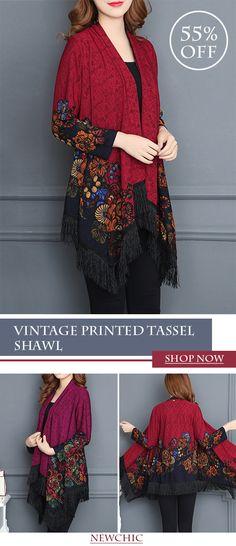 Vintage Printed Tassel Cardigan Shawl for Women #fashion #style #spring