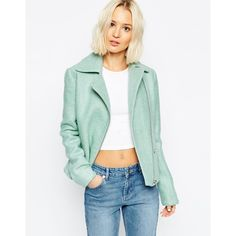 ASOS Biker Jacket in Wool with Zip Detail (1,715 DOP) ❤ liked on Polyvore featuring outerwear, jackets, mint, green jacket, green moto jacket, wool moto jacket, mint jacket and asymmetrical zip moto jacket