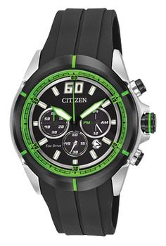 Citizen Eco Drive Black Dial Rubber Strap Chronograph Men's Watch for sale online Citizen Eco, Cool Watches, Watches For Men, Men's Watches, Fossil, Thing 1, Neon Green, Hand Watch, Shopping