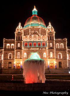 British Columbia Legislature with a frozen fountain