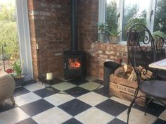 The stove means we can enjoy the orangery all year round.