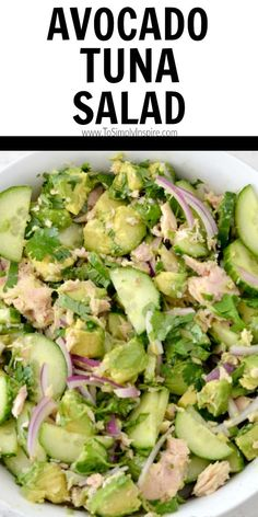 This easy Avocado Tuna Salad is a great twist on the traditional recipes. Just a few fresh ingredients give this salad an amazing flavor for a healthy lunch or as a side dish. Healthy Tuna Salad, Avocado Tuna Salad, Avocado Salad Recipes, Easy Tuna Salad, Avocado Dishes, Avocado Food, Stuffed Avocado, Healthy Foods To Make, Healthy Salad Recipes