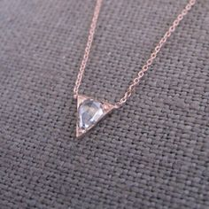 Hortense Arrowhead Rose Gold Necklace on sneakpeeq