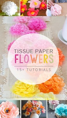 Tissue Paper Flowers - 15 Tutorials on how to make them! 15 Tutorials for Tissue Paper Flowers that are Beautiful! These will be perfect for that baby shower, seasonal home decor, or extra fancy gift wrapping! Handmade Flowers, Diy Flowers, Fabric Flowers, Flower Ideas, Tissue Paper Crafts, Diy Paper, Paper Crafting, Fun Crafts, Diy And Crafts