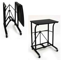 Portable Rolling Laptop Table Desk Stand Folding Durable Cart Bed Dorm Home -PC Computer Desk Design, Computer Cart, Computer Workstation, Home Office Furniture, Garden Furniture, Office Decor, Office Ideas, Laptop Table, Black Pipe