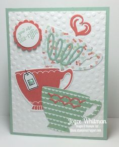 Stampin' Up!, A Nice Cuppa, Tea, Cards, Birthday, Occasion 2016, Cups & Kettle Framelit, watermelon wonder, birthday bouquet DSP, mint macaron, stampin scrapper