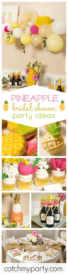 Check out this modern and refreshing Pineapple Crush Bridal Shower! The cake is just so stylish and tha cupcakes gorgeous! See more party ideas at CatchMyParty.com