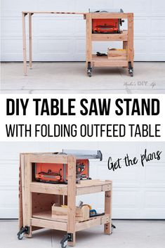 DIY Table Saw Stand With Folding Outfeed Table – Plans and VIDEO So cool! How to build a DIY table saw stand with a folding outfeed table. This portable table saw station is simple to make and has plans and video! How to make a DIY Table saw workbench Table Saw Workbench, Table Saw Jigs, Workbench Ideas, Garage Workbench, Folding Workbench, Industrial Workbench, Workbench Organization, Portable Workbench, Simple Workbench Plans
