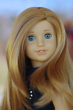 MyAG 53 w blue eyes, Mia's wig Custom American Girl Dolls, American Girl Doll Pictures, American Girl Clothes, Custom Dolls, Girl Pictures, American Girls, Doll Wigs, Doll Hair, Ag Hair Products