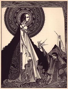 "kateoplis: "" ""The death of a beautiful woman is, unquestionably, the most poetical topic in the world."" ― Edgar Allan Poe Illustrations: Harry Clarke for Edgar Allen Poe "" Edgar Allen Poe, Edgar Poe, Harry Clarke, Allan Poe, Edgar Allan, Larp, Aubrey Beardsley, Graffiti, Art Vintage"