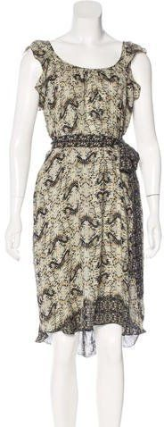L'Agence Silk Butterfly Print Dress