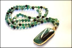 Gold Wrapped Agate Necklace, Green Druzy Geode Necklace, Long Necklace