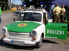 The legendary Trabant, favourite with the Police of the former East Germany East German Car, Pompe A Essence, German Police, Beast From The East, East Germany, Emergency Vehicles, Fire Engine, Military Vehicles, Military Car