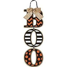 """Our Modern Halloween Burlap Bow Boo Sign is chic not shriek! This hanging sign says """"BOO"""" in vertical letters with stripes and polka dots. The sign features orange and black polka dots and stripes on MDF with burlap bow. Art Halloween, Halloween Wood Signs, Modern Halloween, Halloween Cookies, Burlap Halloween, Halloween Pictures, Halloween 2018, Happy Halloween, Halloween Front Door Decorations"""