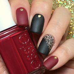 Black and Translucent Accent Nails Same look with matte polish  @opi_products Black Onyx Matte Polish  @essiepolish Dress to Kill  Gold studs from @ebay