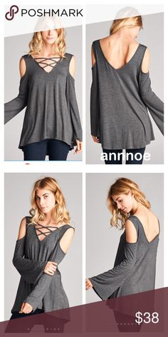 😍GRAY double CRISS cross top This is the GRAY version of the double cross cross open shoulder top.  It is super comfortable to wear and very flattering on the body.  YOU WILL GET LOTS OF COMPLIMENTS IN THIS😘. .  🎈FIT GUIDE: SMALL (2,4) MEDIUM (6,8) LARGE (10,12) Tops Tees - Long Sleeve