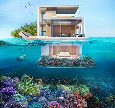 Underwater villas with unique view and privacy, let you sleep with the fishes, in Dubai.The Floating Seahorse villas is a truly unique underwater project, which is the first of its kind in the world. Futuristic Architecture, Architecture Design, Underwater Bedroom, Ocean Underwater, Luxury Houseboats, Sleep With The Fishes, Casas The Sims 4, Dream Mansion, Dream Houses
