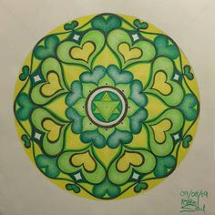 Mandala Drawing, Mandala Art, Lack Of Empathy, Bright Art, Pretty Green, Mandala Coloring, Heart Chakra, Large Prints, Love Heart