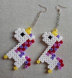 hama beads unicorn earings
