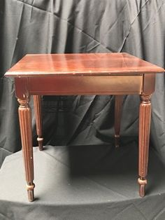 CHERRY FINISH SIDE TABLE WITH RIBBED, TAPERED LEGS, IN GENTLY USED  CONDITION. 20