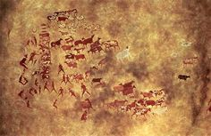 AFRICAN Cattle Being Tended. Rock wall painting in Tassili-N-Ajjer, Algeria. 5,000-2,000 BCE