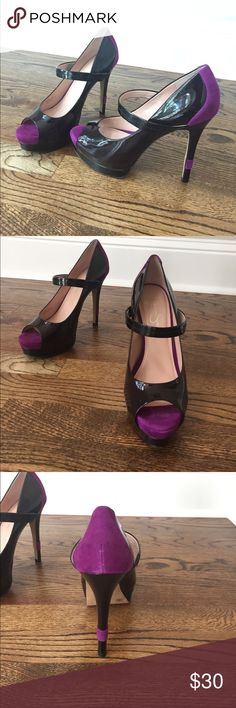 Jessica Simpson heels Shoes look black but are a very deep maroon if shown in light. Fun purple velvet details. Size 9.  Great condition! Jessica Simpson Shoes Heels