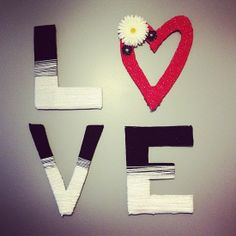 LOVE yarn wrapped letters for bedroom wall DIY.