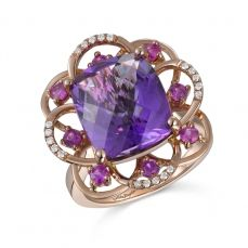 RGF19651 Ring 14K Rose Gold with Diamond , Pink Sapphire and Amethyst