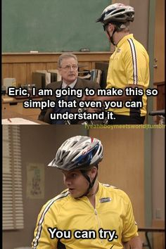 I love how he just keeps going back in and tormenting Feeny, asking the same question different ways ... haha