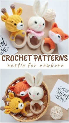 Crochet Patterns For Beginners, Crochet Patterns Amigurumi, Crochet Ideas, Fox Baby, Baby Lovey, Fast Crochet, Halloween Doll, Crochet Bunny, Baby Rattle