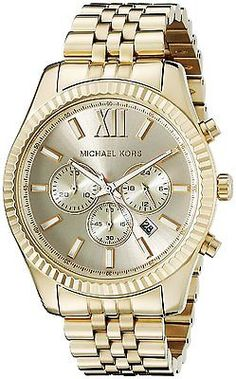03064f99bff2 New Michael Kors MK8281 Lexington Chronograph Gold Tone Unisex Watch + MK  box!