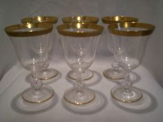 ELEGANT SET OF 5 LENOX GOLD ENCRUSTED CRYSTAL WINE GLASSES STEMWARE