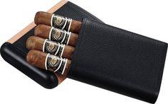 Cigar Cases - Visol Montrose Black Leather & Wood Cigar Case - Holds 4 Cigars - Oxemize.com