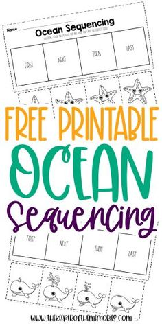 Encourage creative thinking, problem solving and reading comprehension skills with these cut and paste Free Printable Ocean Kindergarten Sequencing Worksheets. Grab yours today! #sequencing #preschool #kindergarten #sequencingworksheets #preschoolworksheets #kindergartenworksheets #creativethinking #problemsolving #finemotorskills #sequencingskills Sensory Activities Toddlers, Kids Learning Activities, Preschool Themes, Preschool Printables, Preschool Kindergarten, Kindergarten Worksheets, Sequencing Worksheets, Printable Worksheets, Printable Coloring