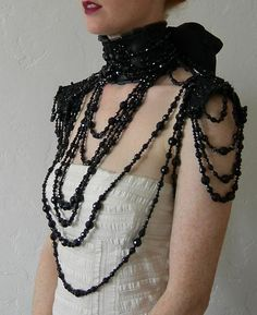 Thank you to the lovely people at HauteMacabre.com for featuring this piece. xxx   ****To Order***  Bewitching, elegant and luxurious the ultimate in gorgeousness for the party season. Inspired by Victorian mourning jewelry; drapings and drapings of vintage Jet, vintage glass beads, Swarovski Jet and Hematite beads go in to creating this beautiful necklace with epaulette style shoulder piece. The necklaces are attached to a leather Ruff style collar and leather shoulder pads, which are all…
