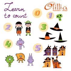 Learn to count for halloween cute set of 21 high quality digital images includes various colorfulHallooween related graphic elements.