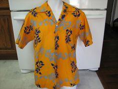 Pomare Hawaiian shirt 1970s retro vintage Orange native print