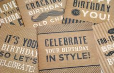 This fun and quirky collection of cards feature distressed charcoal and white typography on rustic kraft board backgrounds. With bold type, spots, stripes and patterned moustaches, these cards offer something a little bit different. Whether it's the birthday designs for someone special that catch your eye, or the generic moustache cards, they are sure to bring a smile to anyone's face. Available from: http://www.clairewilsondesigns.co.uk/greetings-and-notecards/rustic-type-collection/