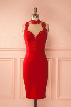 Mishti Passion - Red cocktail dress with lace and mesh details