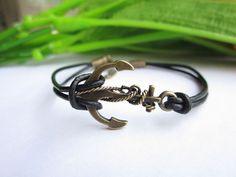 anchor bracelet,antique bronze bracelet,personality anchor leather bracelet,alloy bracelet,anchor pendant. $2.99, via Etsy.
