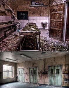 There is no creepier place to be than an abandoned morgue. These spaces were created for the dead, but they're now dying in an abandoned hospital. Abandoned Buildings, Abandoned Asylums, Old Buildings, Abandoned Places, Haunted Asylums, Haunted Houses, Abandoned Castles, Spooky Places, Haunted Places