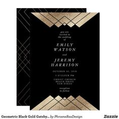 Shop Geometric Black Gold Gatsby Wedding Invitation created by PhrosneRasDesign. Art Deco Wedding Invitations, Gold Invitations, Wedding Invitation Cards, Wedding Cards, Acrylic Invitations, Invites, Wedding Stuff, Different Wedding Ideas, Wedding Stationery Inspiration