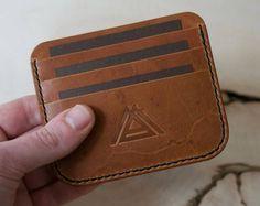Delgado cartera, titular de la tarjeta de crédito, billetera de cuero, cartera minimalista, carpeta de cuero para hombre, cuero Horween, cartera de dinero en efectivo, tarjeta titular de la cartera