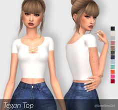 ♥ Tegan Top! ♥ • comes in 12 colors • standalone • custom thumbnail • read my… Kylie Jenner Lip Kit, Sims Cc, Maxis, Crop Tops, Colors, Women, Fashion, Moda, Fashion Styles