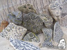 I love to doodle rocks!--need to check these out