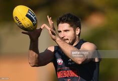 Jesse Hogan of the Demons marks during a Melbourne Demons AFL training session at Gosch's Paddock on June 20, 2017 in Melbourne, Australia.