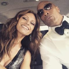 Here is a photo of the Rock with his girlfriend Lauren Hashian at The Oscars: